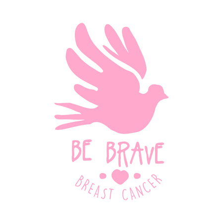 Breast cancer be brave label. Hand drawn vector illustration in pink colors