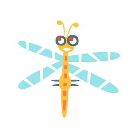 Cartoon funny dragonfly colorful character vector Illustration Çizim