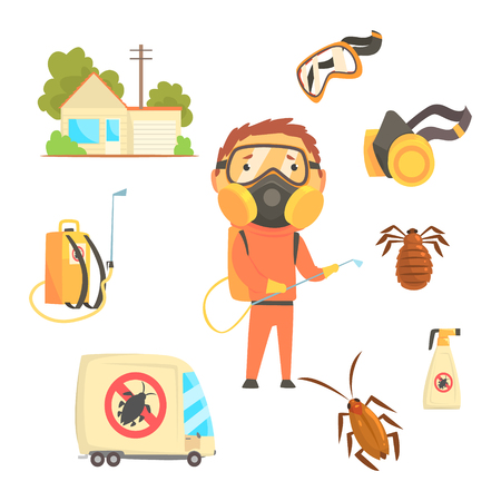 pest control: Exterminators of insects in orange chemical protective suit with equipment and products set. Pest control service cartoon colorful Illustrations