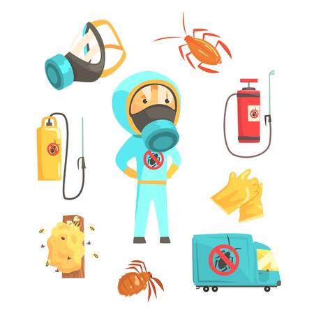 Exterminators van insecten in chemisch beschermend pak met apparatuur en producten set. Pest control service cartoon kleurrijke illustraties