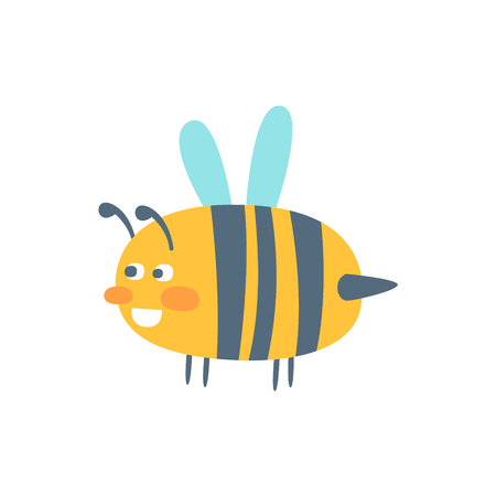 Cute cartoon wasp, colorful character vector Illustration