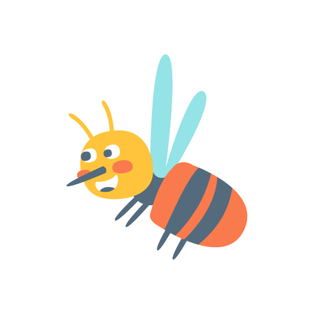 Cute cartoon honey bee, colorful character vector Illustration