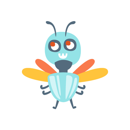 Cute cartoon fly, colorful character vector Illustration