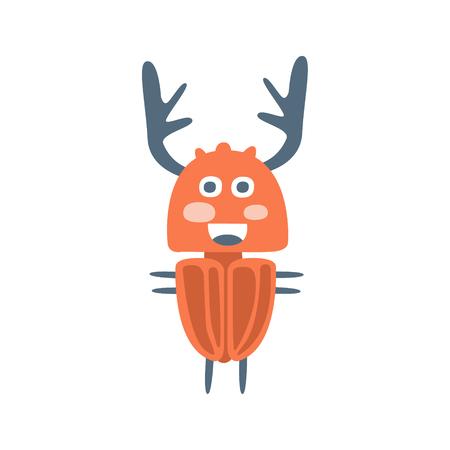 Cute cartton deer beetle, colorful character vector Illustration Çizim