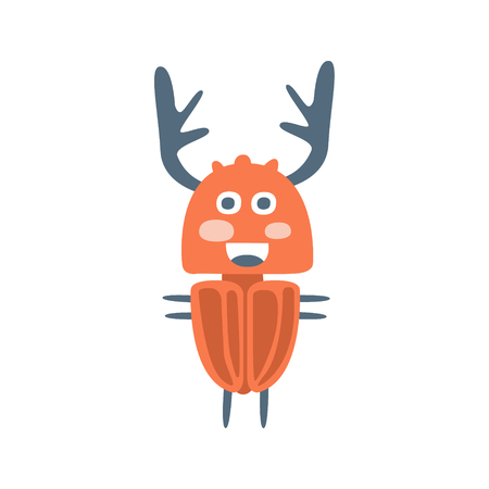 Cute cartton deer beetle, colorful character vector Illustration Illustration