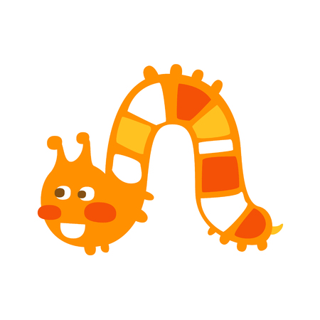 Cute cartoon orange caterpillar colorful character vector Illustration