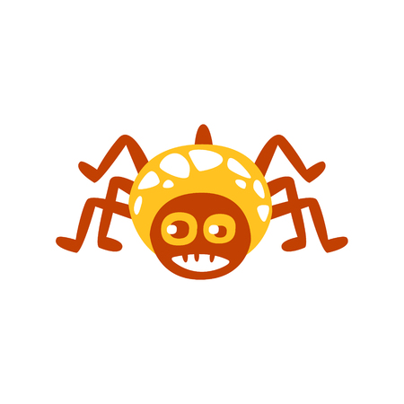 Cute funny cartoon spider colorful character vector Illustration