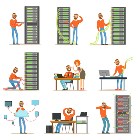receiver: Young engineer working in network server room. Technician at the data center set of colorful Illustrations