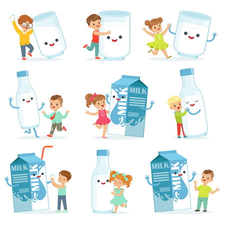 Cute little children having fun and playing with large boxes, mugs and bottles of milk, set for label design. Colorful cartoon characters