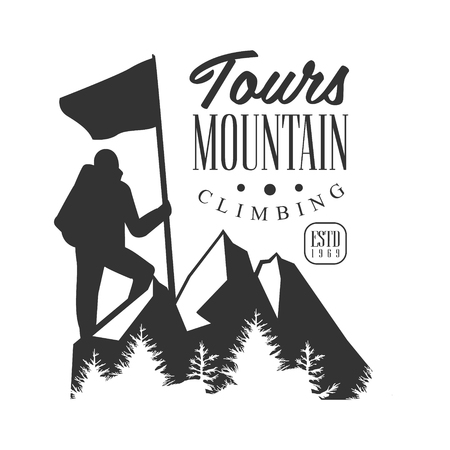 Mountain climbing tours logo. Mountain tourism, , exploration label