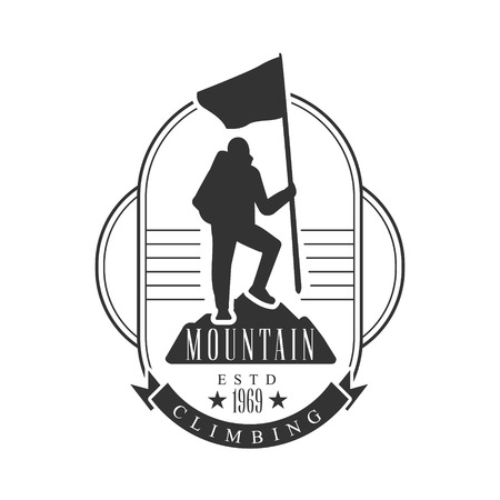 Mountain climbing. Mountain tourism, exploration label, climbing sport activity badge