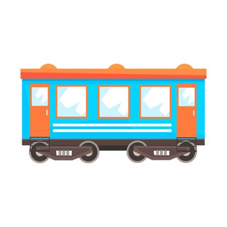Spoorweg personenwagen, spoorvervoer. Kleurrijke cartoon illustratie geïsoleerd op een witte achtergrond Stock Illustratie