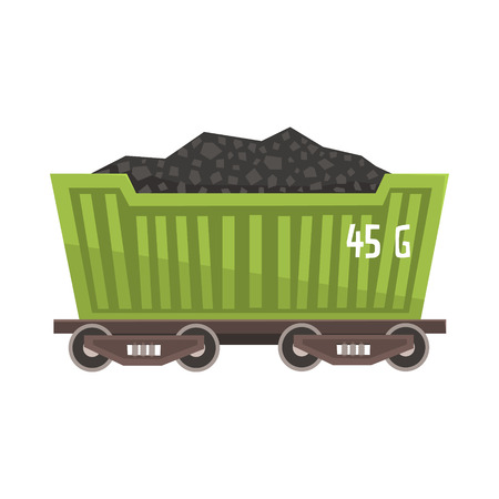 Green railway wagon loaded with coal. Railway and cargo transportation. Colorful cartoon illustration isolated on a white background Illustration