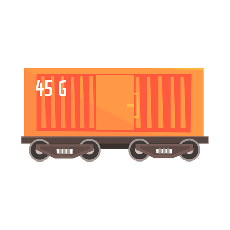 boxcar: Orange cargo wagon. Railway and cargo transportation. Colorful cartoon illustration isolated on a white background
