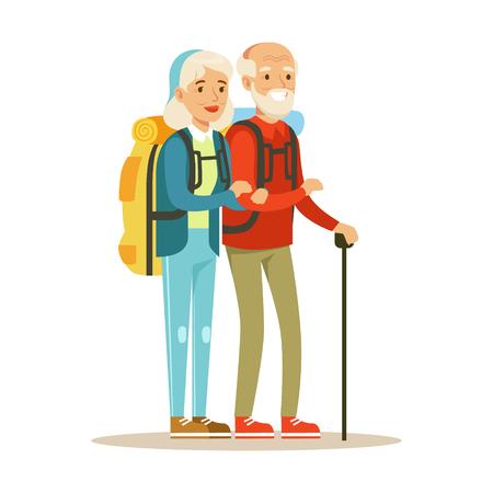 先輩カップルの観光客がバックパックで旅行します。カラフルな漫画のキャラクターを旅する人々 ベクトル イラスト白背景に分離  イラスト・ベクター素材