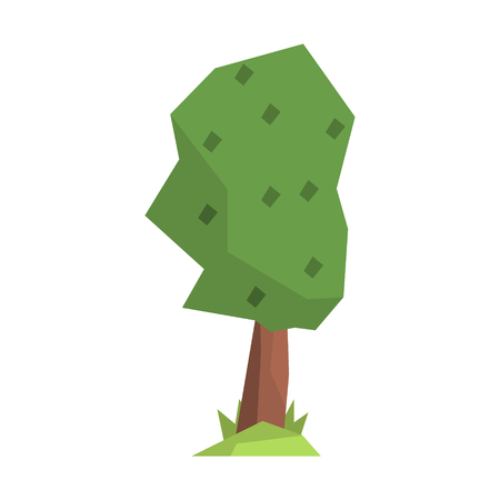 Green tree, colorful cartoon illustration isolated on a white background Illustration
