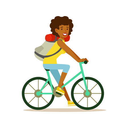 Young happy woman riding on a bicycle with a backpack, colorful cartoon character vector Illustration isolated on a white background Ilustrace