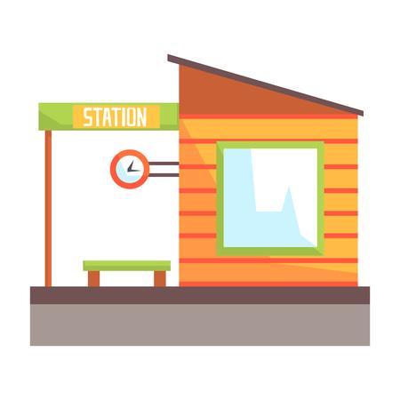Railway station building, railroad passenger transportation. Colorful cartoon illustration