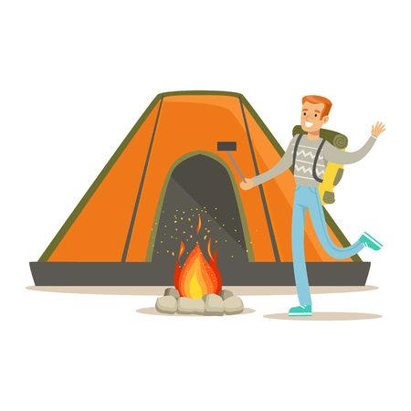 camper: Smiling man with backpack standing near tourist tent and taking selfie photo on his smart phone. Summer camping colorful cartoon character vector Illustration isolated on a white background