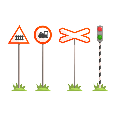 Railway intersection signs, different traffic signs for a railroad crossing. Colorful cartoon illustration isolated on a white background