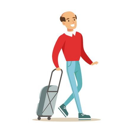 スーツケースを持って旅行する人を笑っています。カラフルな漫画のキャラクター ベクトル イラスト白背景に分離  イラスト・ベクター素材