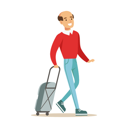 Glimlachende mens die met koffer reist. Kleurrijke cartoon karakter vector illustratie geïsoleerd op een witte achtergrond Stockfoto - 78282582