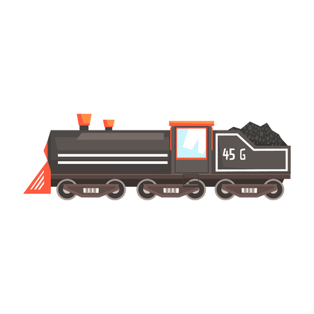 Black train locomotive. Colorful cartoon illustration Stock Vector - 78290272