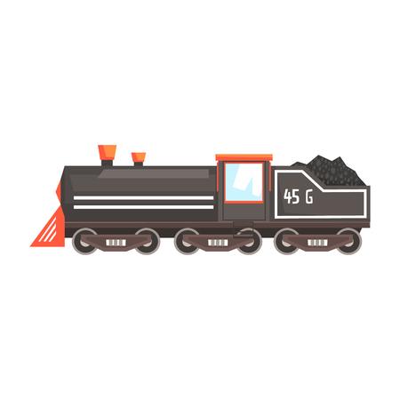 Black train locomotive. Colorful cartoon illustration