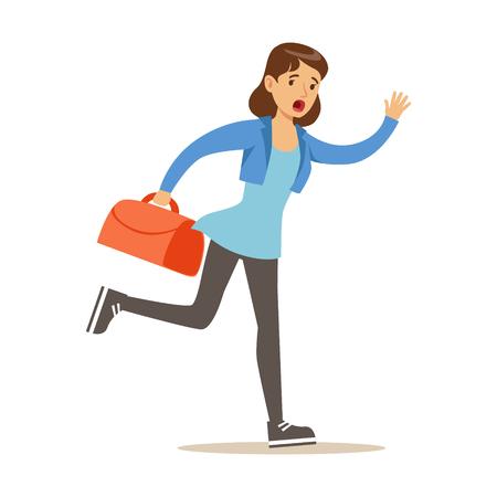 Chica corriendo con la maleta tarde para el vuelo. Colorido personaje de dibujos animados ilustración vectorial aislado en un fondo blanco