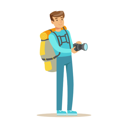 Happy young man standing with backpack and holding flashlight. Colorful cartoon character vector Illustration
