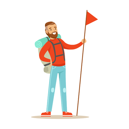 Young man traveler standing with backpack and holdiing red flag with long flagpole. Summer camping colorful cartoon character vector Illustration isolated on a white background