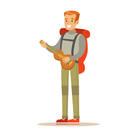 hiking: Young smiling man traveler with backpack and quitar. Summer camping colorful cartoon character vector Illustration isolated on a white background