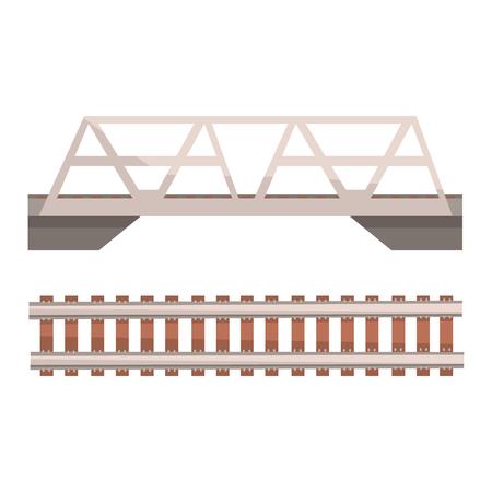 Eisenbahnbrücke und Eisenbahn, Bahnstrecke. Bunte Karikaturillustration