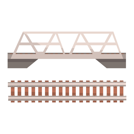 Railway bridge and railroad, rail section. Colorful cartoon illustration Illusztráció