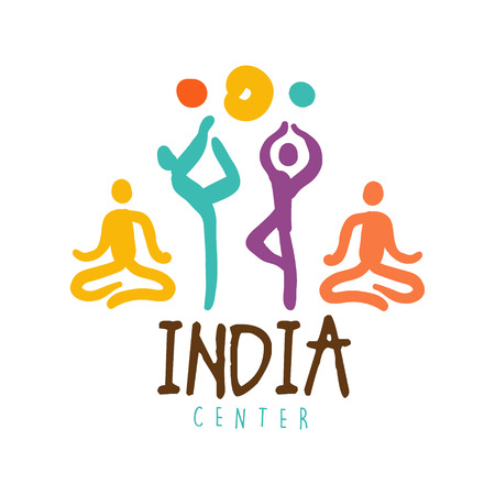 India center. Colorful hand drawn vector illustration for yoga studio, relax or spa, health and beauty care label