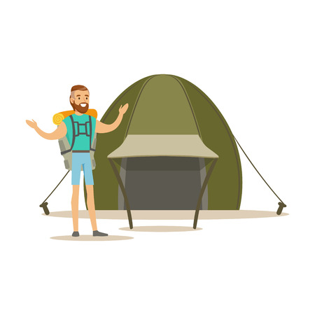 Young bearded man traveler with a backpack standing near a tourist tent. Summer camping colorful cartoon character vector Illustration Illustration