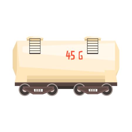 White railroad tank wagon. Colorful cartoon illustration