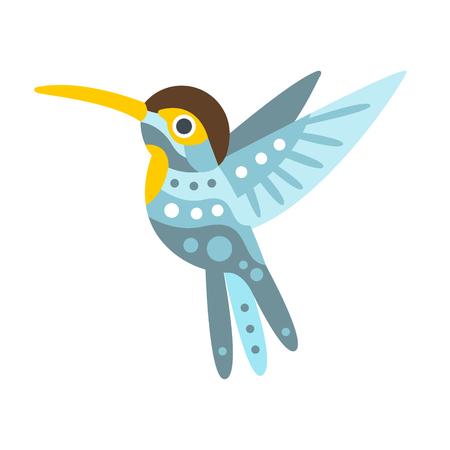 Broad billed hummingbird colorful cartoon character vector Illustration