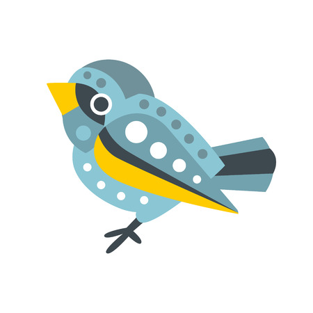 Cute small sparrow bird colorful cartoon character vector Illustration isolated on a white background Ilustrace