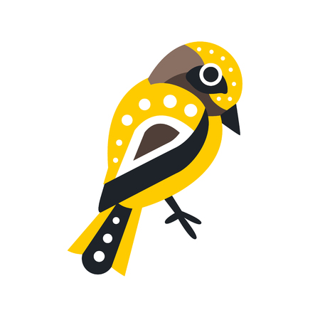 Little colorful bird cartoon character vector Illustration isolated on a white background
