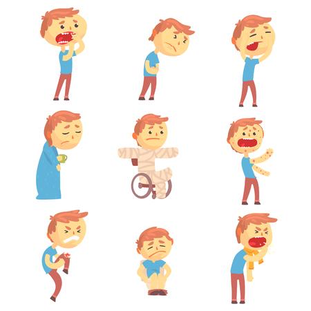 Zieke mannen set van mensen met pijn en ziekten. Kleurrijke stripfiguren vectorillustraties geïsoleerd op een witte achtergrond