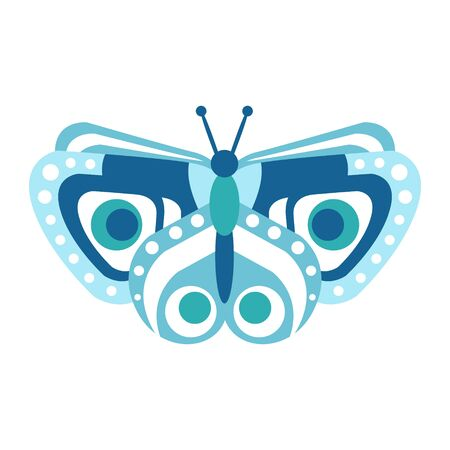 Cute blue butterfly vector Illustration isolated on a white background