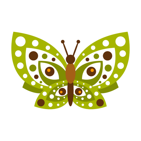 Green butterfly with open wings vector Illustration isolated on a white background Illustration