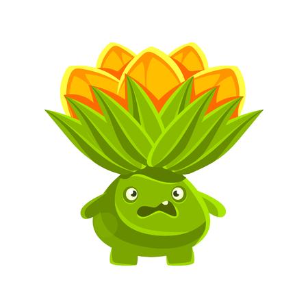 Funny vexed cactus with orange flowers on his head. Cartoon emotions character vector Illustration Illusztráció