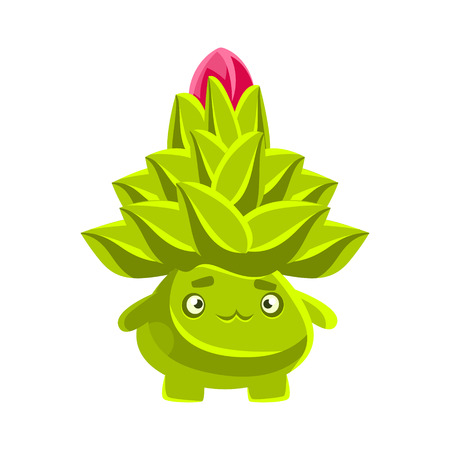 Funny sad succulent emoji. Cartoon emotions character vector Illustration isolated on a white background