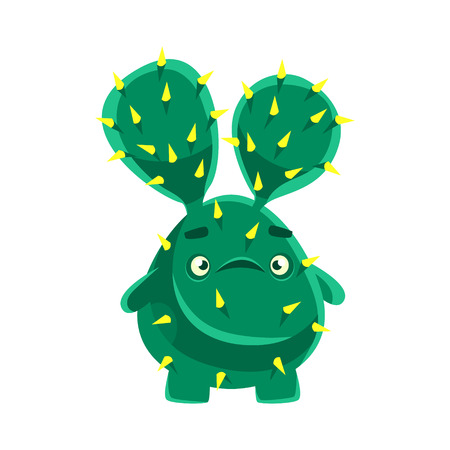 Cute cactus with a troubled face. Cartoon emotions character vector Illustration isolated on a white background Illustration