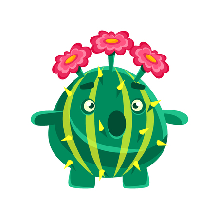 Funny surprised succulent with pink flowers. Cartoon emotions character vector Illustration isolated on a white background