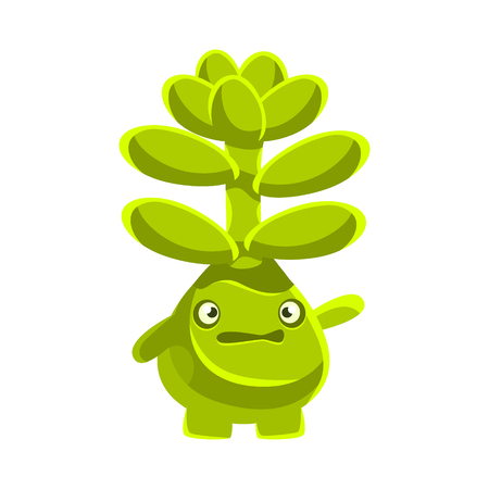 Cute worried succulent emoji. Cartoon emotions character vector Illustration isolated on a white background Çizim