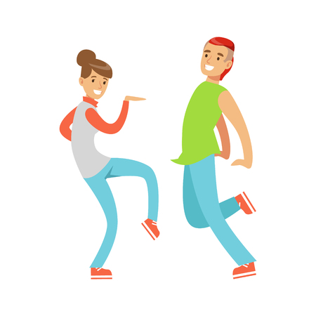 Young couple in casual clothes dancing colorful character vector Illustration isolated on a white background