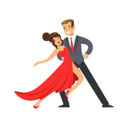 Young happy couple dancing colorful character vector Illustration isolated on a white background